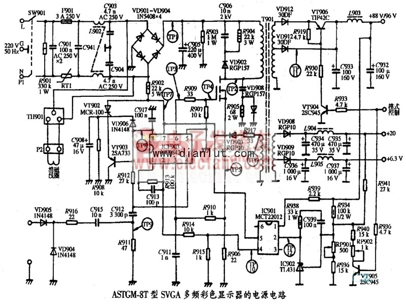AST GM-8T型SVGA彩色显示器电源电路原理图