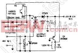 由-48V得到+5V/1A的电信转换器电路