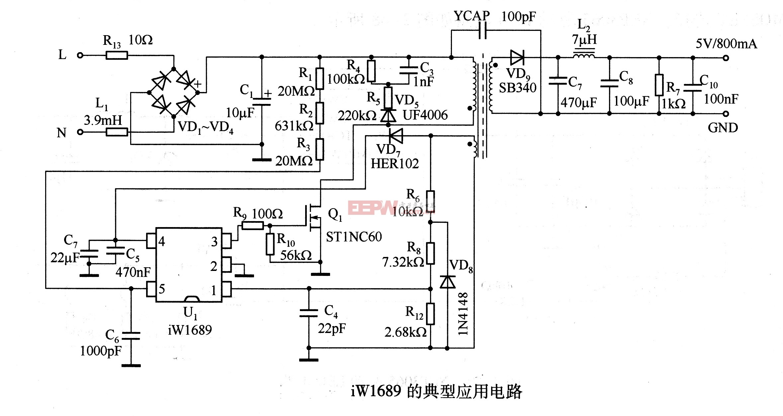 iW1689的典型应用电路