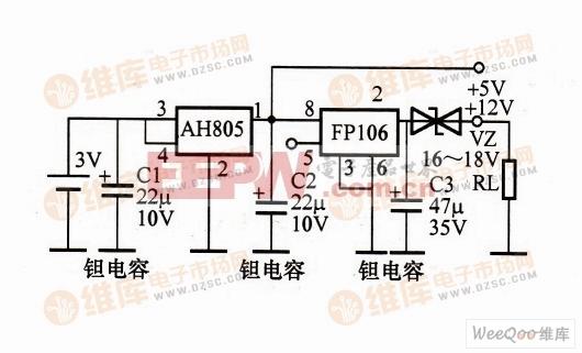 用电池产生+5V/+12V电路