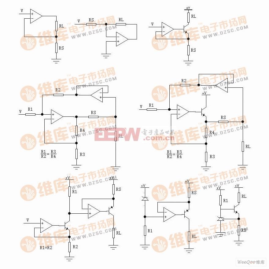 六类V/I转换和恒流源电路图及其比较