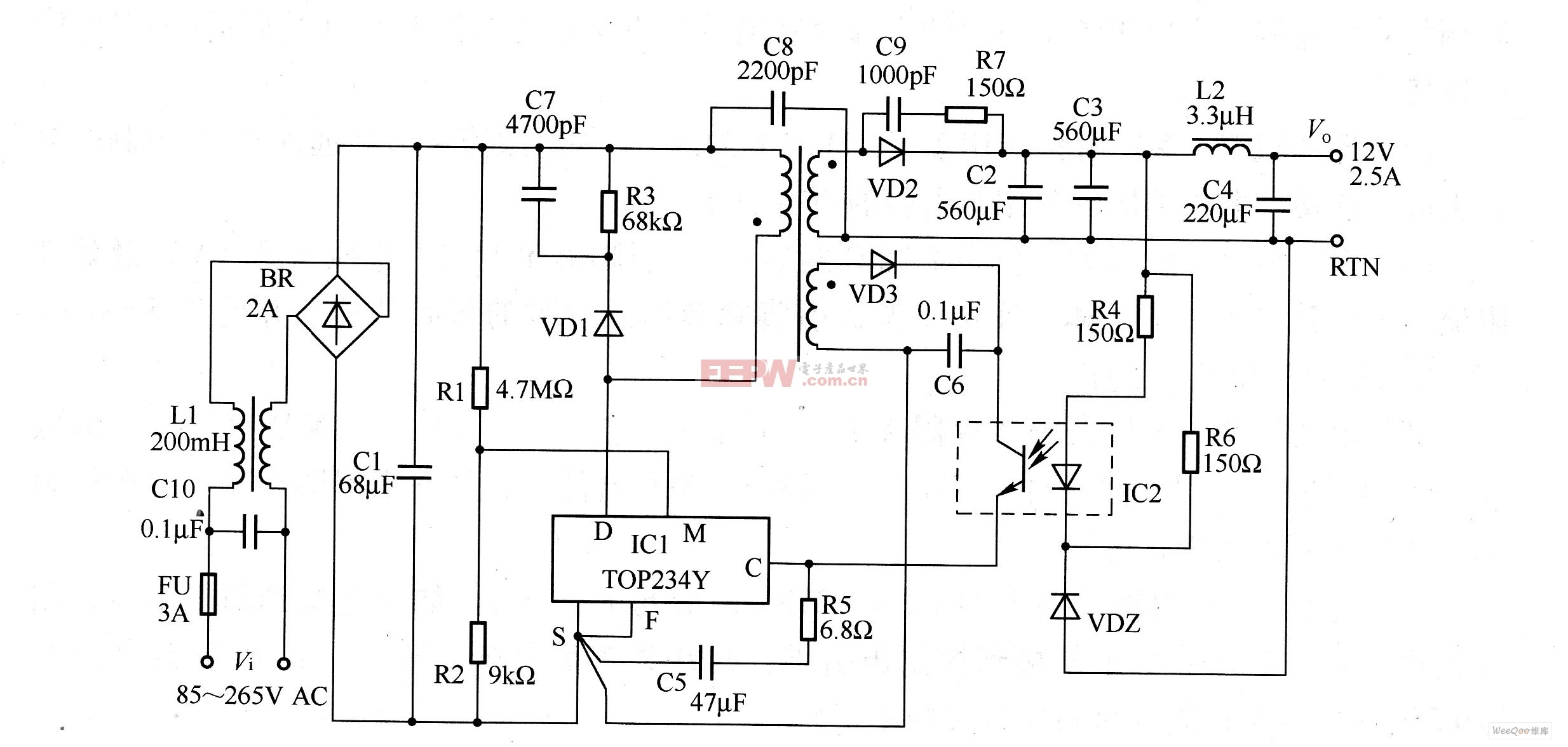 30W,12V输出开关电源电路