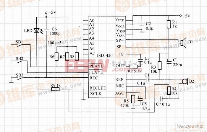 利用ISD1420构成的袖珍录音控制器