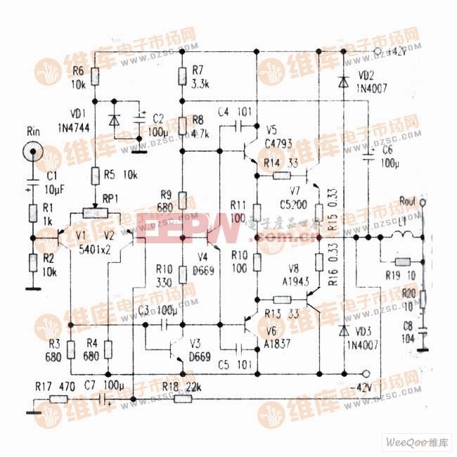 一款简单的末级功率放大器电路