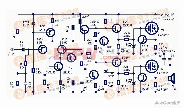 使用大功率场效应管的实用功率放大器电路