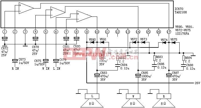 TA8218AH伴音功放电路及引脚功能