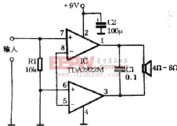 采用TDA2822M制作简单功放的原理及电路