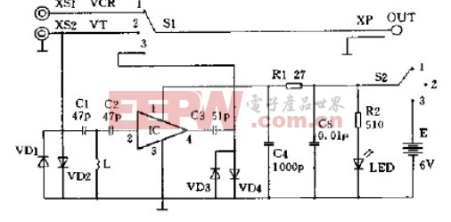 电视录像转换放大器电路原理图