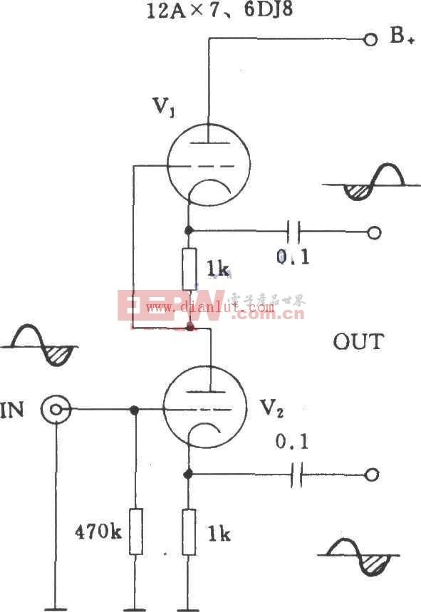 简述SRPP电子管倒相的电路图