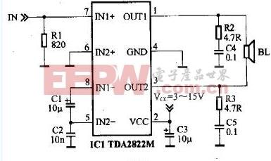 基于TDA2822M的小功率有源音箱电路