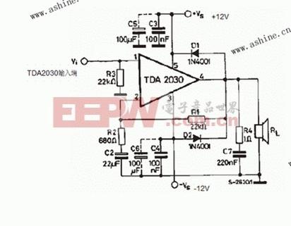 TDA2030低音炮电路