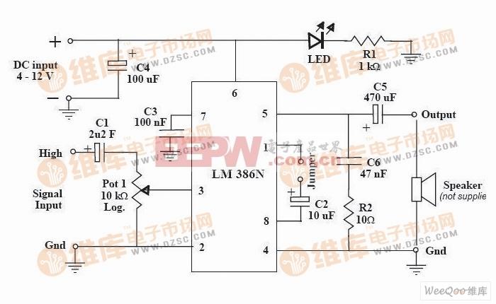 简易功率放大器电路图