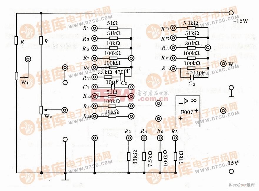 集成运算放大器实验线路板电路图