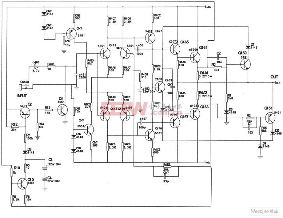 基于CAV-970型功放电路图