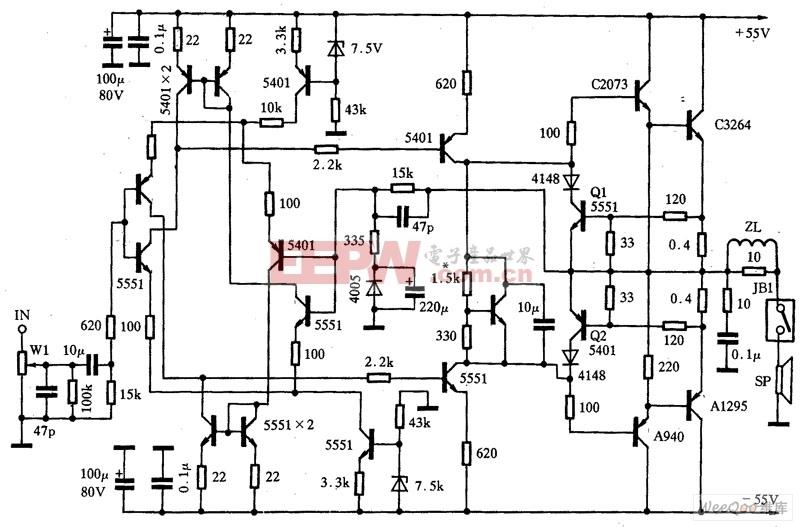 湖山BK2×100J-01放大器电路