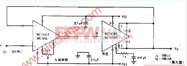 高输入阻抗、高输出电流电压跟随器电路电路图