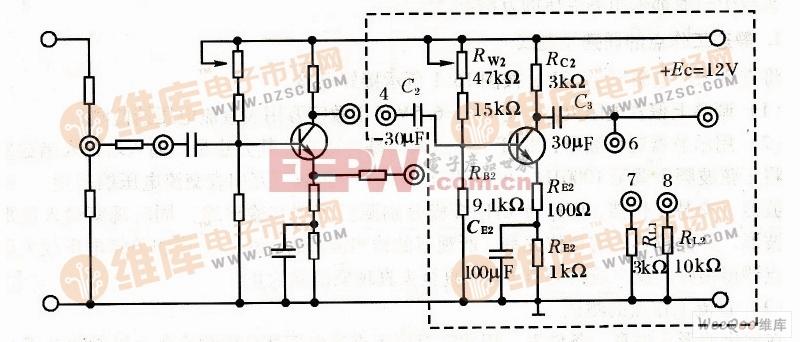 单管电压放大电路实验电路图