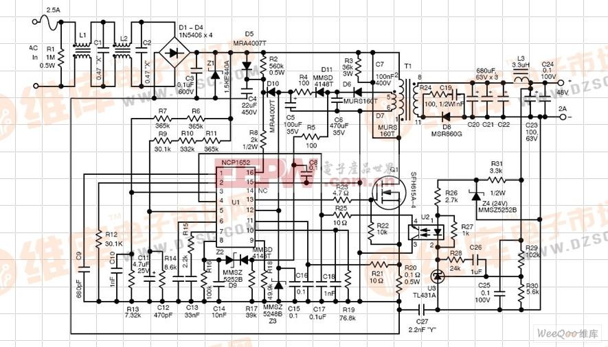 NCP1652 控制器设计的50W-150W AC-DC LED电路图