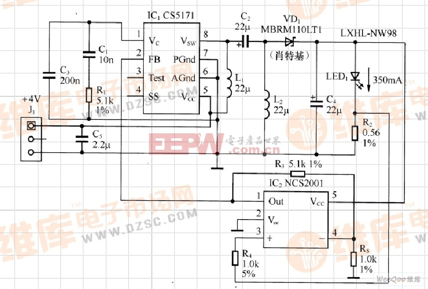 基于SEPIC变换器的LED驱动电路图