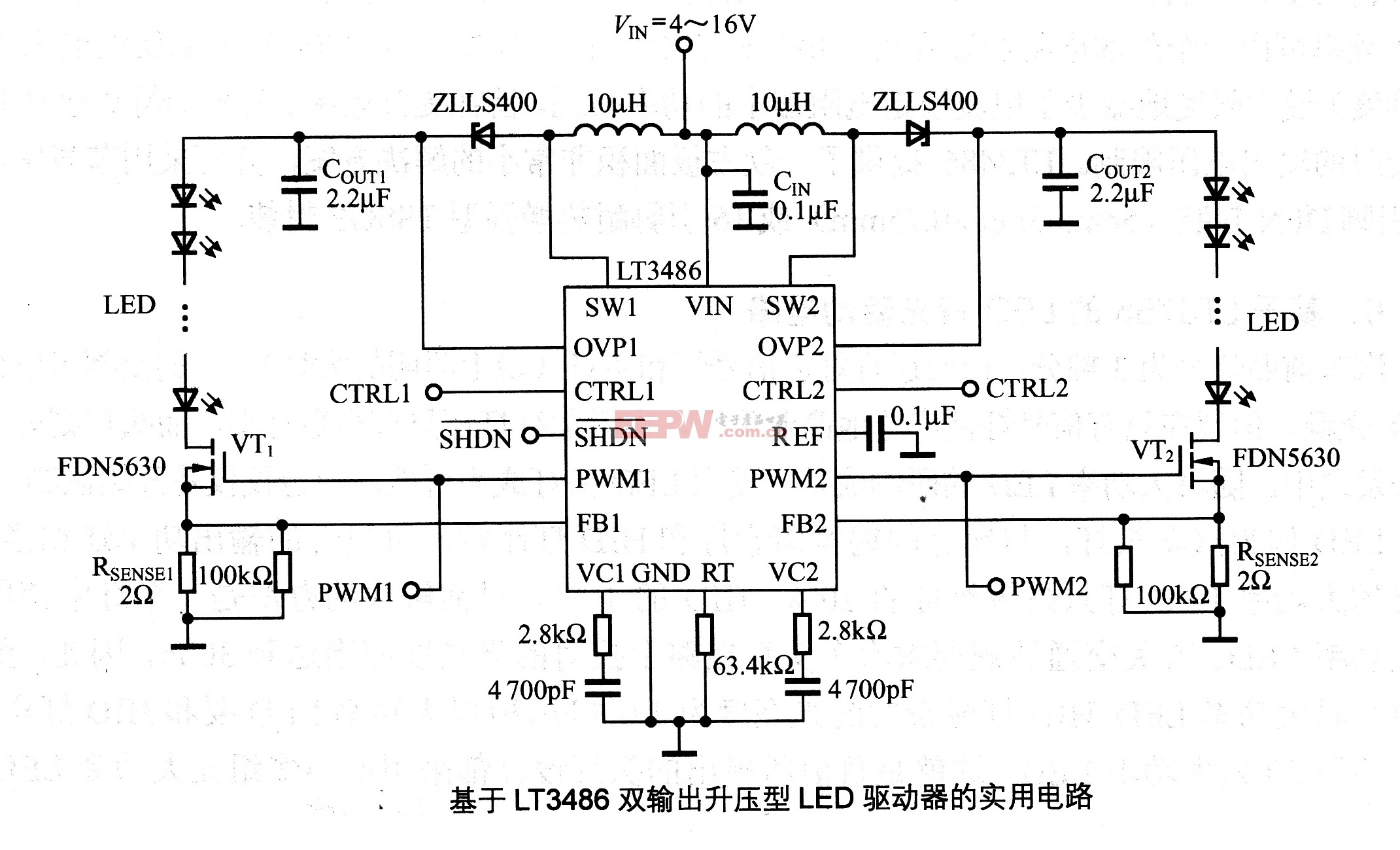 led 电路/该电路是基于LT3486双输出升压型LED驱动器的实用电路,它以...