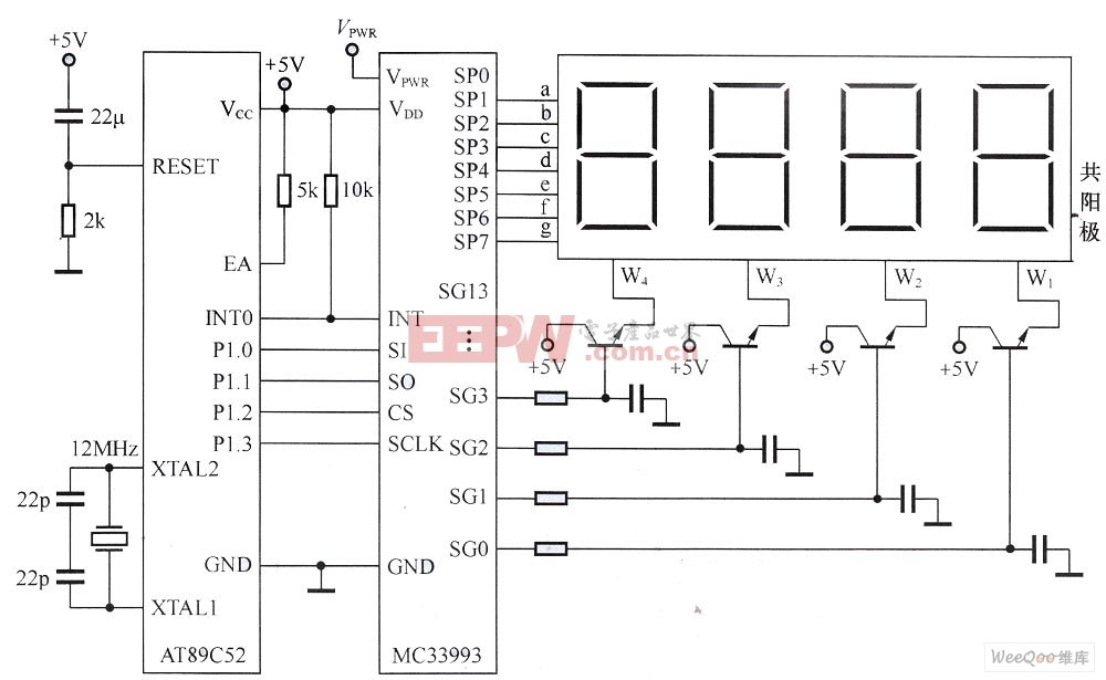 MC33993与AT89C52构成的多位LED显示接口电路