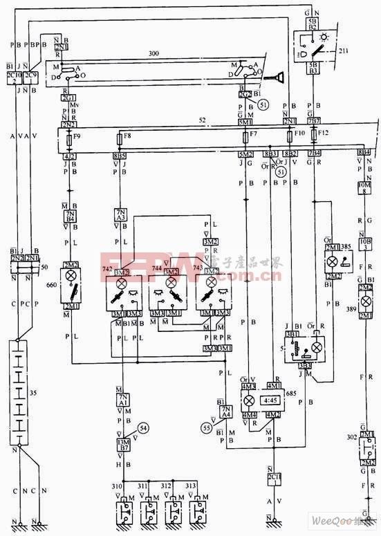 简易车内照明系统电路(988车型)