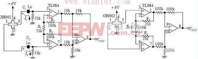 用TL071和TL084设计的霍尔传感器放大电路