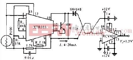 0~5V输出远距离传输铂电阻温度变送器电路