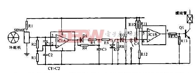 用于磁带末端检测的电路原理图