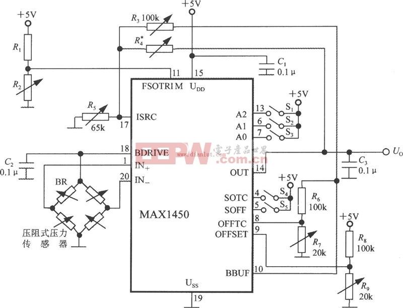 基于MAX1450的压力信号调理电路电路图