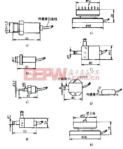 常见LY、LZ、LH型扩散力敏传感电路及其外型尺寸