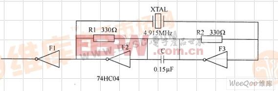 由 74HC04组成的并联谐振振荡电路图