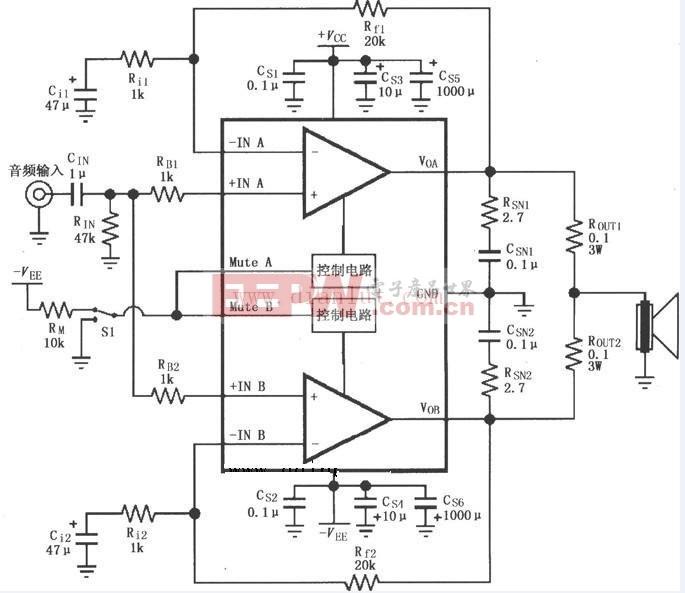 LM4780在并联输出功放电路中的应用