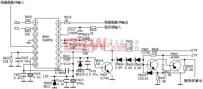 TA8859枕形校正应用电路