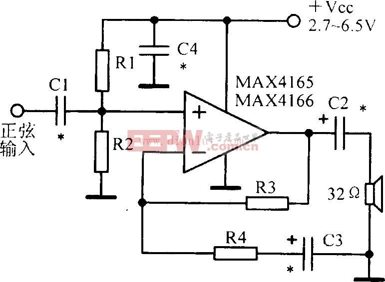 MAX4165/MAX4166设计的低功耗高输出驱动输入输出运算放大电路