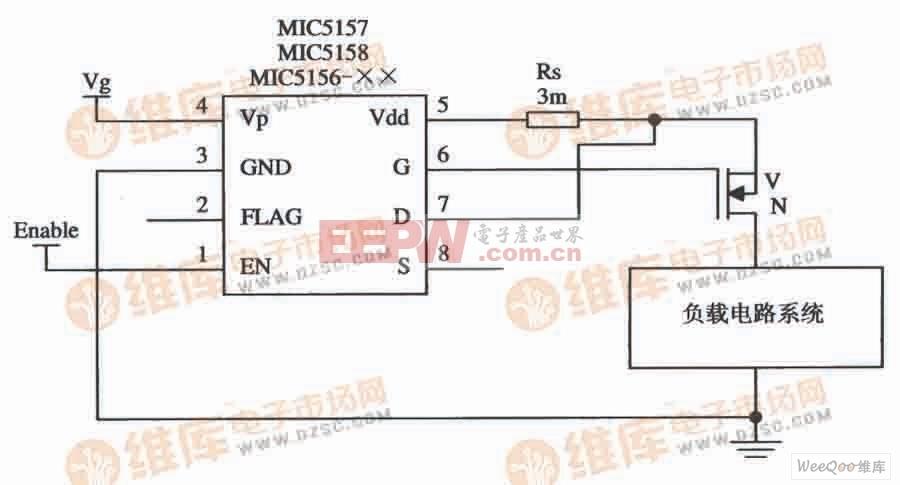 由MIC5156-××组成的上升沿触发的大电流开关电路