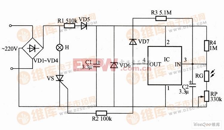 利用MAX827构成的微功耗光控自动照明控制器电路