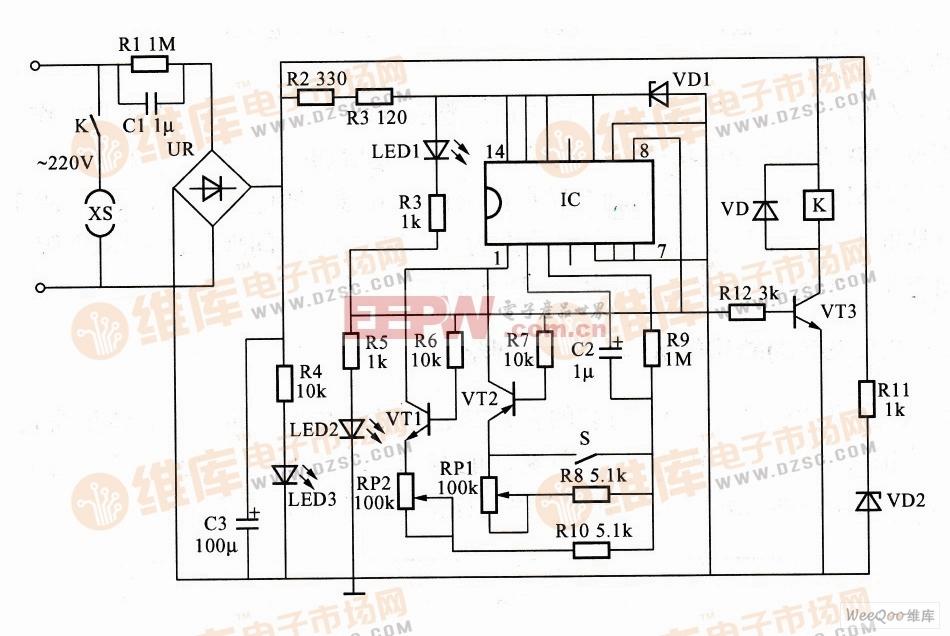 利用MC14541B构成的循环定时控制器电路