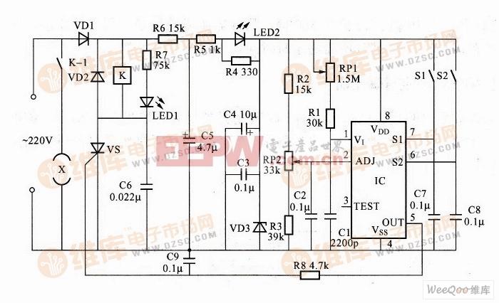 利用TEC8445构成的低功耗定时开机控制器电路