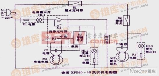金鱼XPB20-3S洗衣机电路图