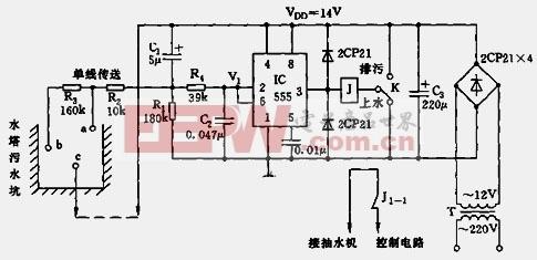 由555构成的水位和排污控制器电路图