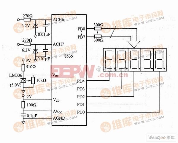 测量及显示两路模拟输入电压电路原理图