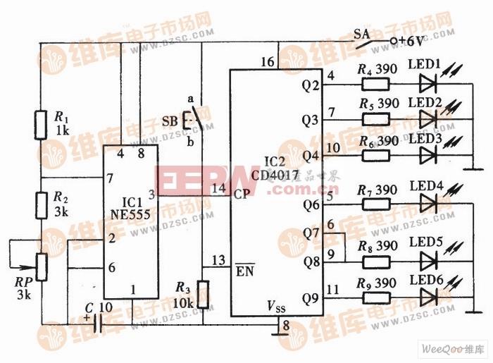 用CD4017组成反应能力测试仪电路