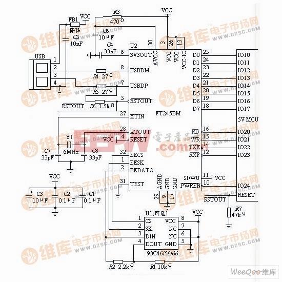 FT245BM的典型硬件电路