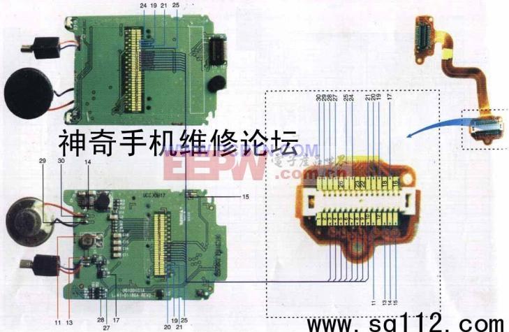 美晨T99+型手机排线元件分布及实物图