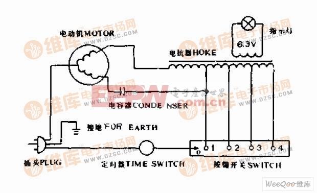 普通电风扇接线电路图