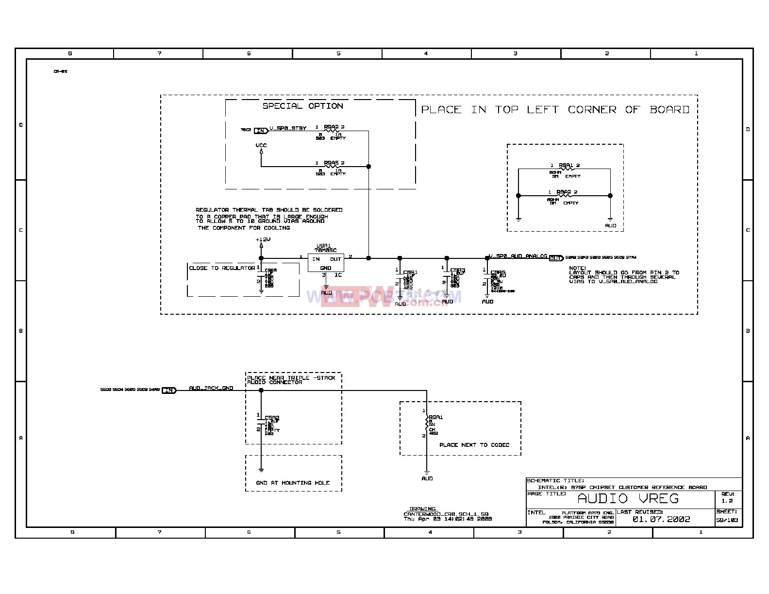 Intel 875p主板音频调整电压电路图