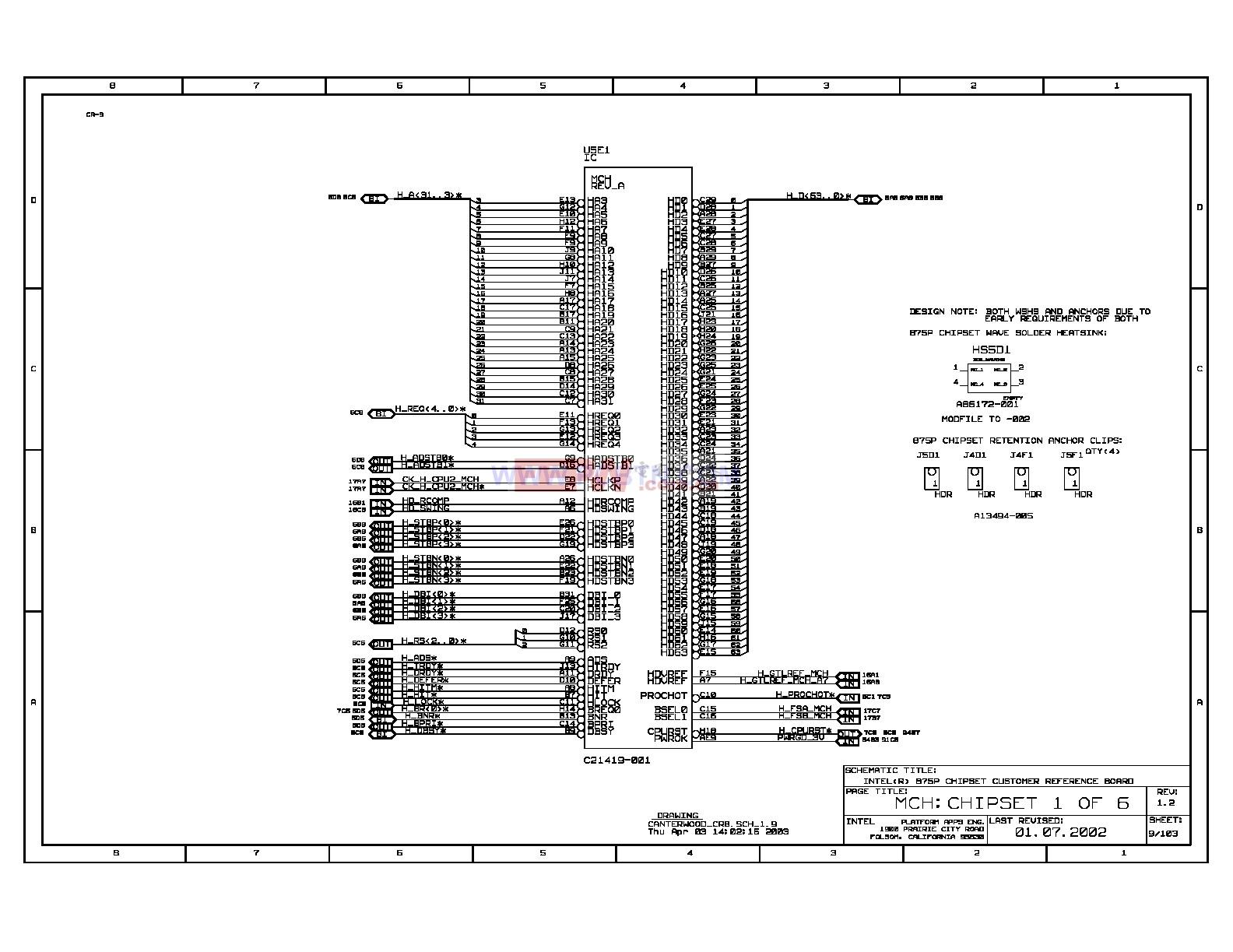 Intel 875p主板MCH控制芯片电路图