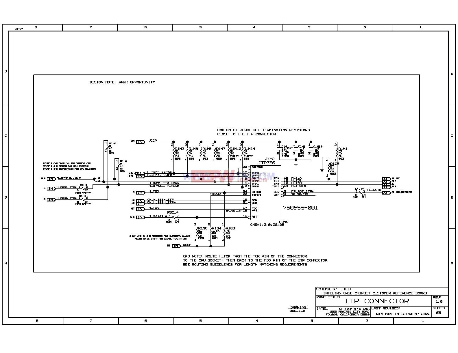 Intel 875p主板调试接口ITP电路图