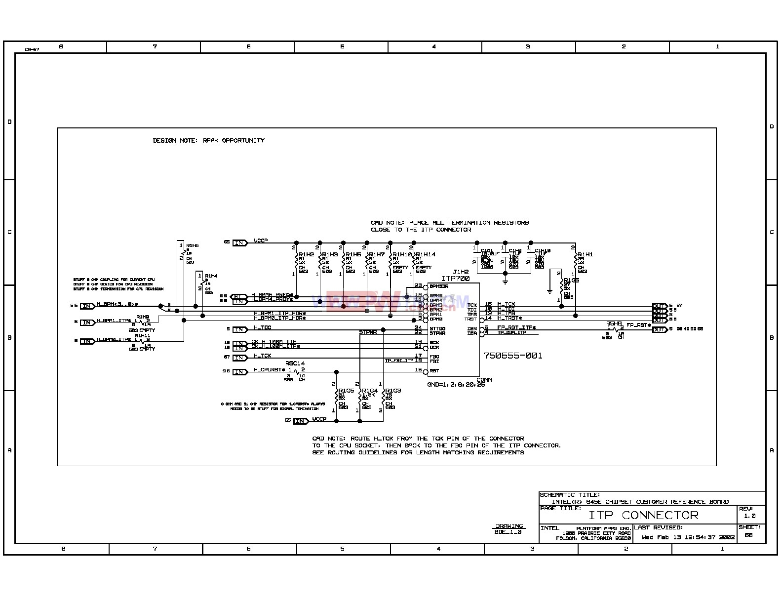 Intel 875p主板調試接口ITP電路圖
